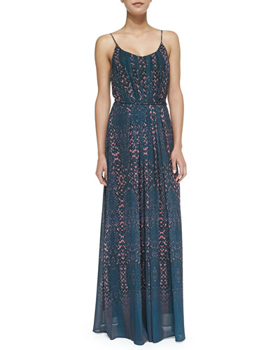 Charlie Jade Eden Snake-Print Pleated Maxi Dress, Blue/coral