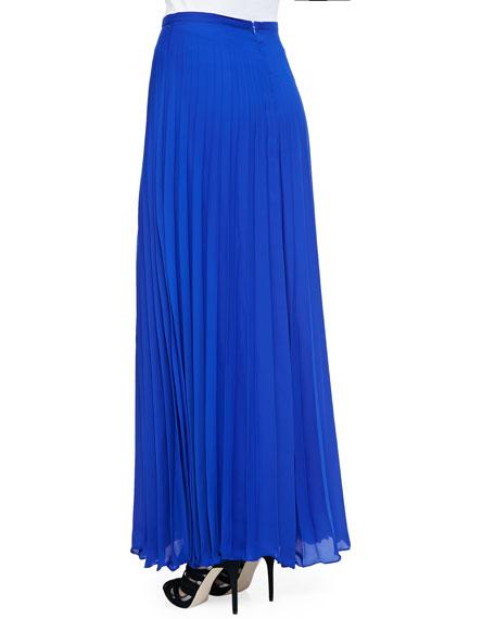 Pleated Chiffon Maxi Skirt, Cobalt Blue
