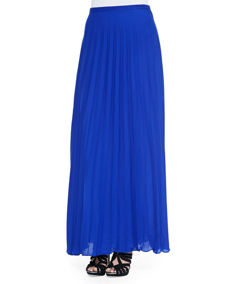 jade pleated chiffon maxi skirt cobalt blue