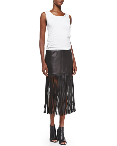 Fringe-Trim Leather Long Skirt, Black