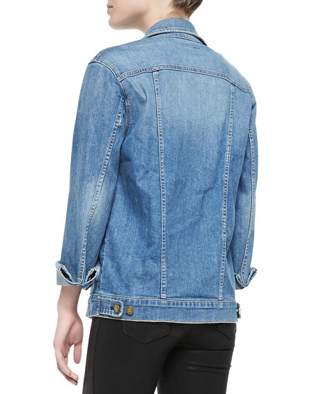 Oversized Trucker Frayed Jean Jacket
