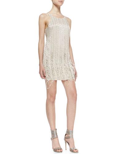Parker Evening Monaco Sleeveless Beaded Feather Dress