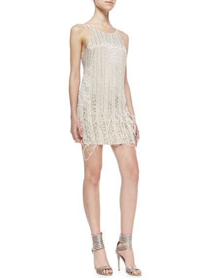 Monaco Sleeveless Beaded Feather Dress