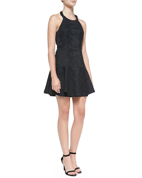 Leona Lattice-Jacquard Fit-and-Flare Dress, Black