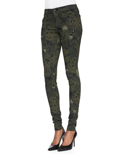 Joe's Jeans Rollin' Camo/Floral-Print Zipper Leggings