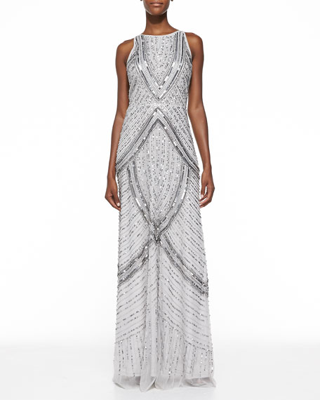 Sequined & Beaded Halter Gown, Platinum