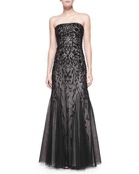 Strapless Beaded Overlay Gown