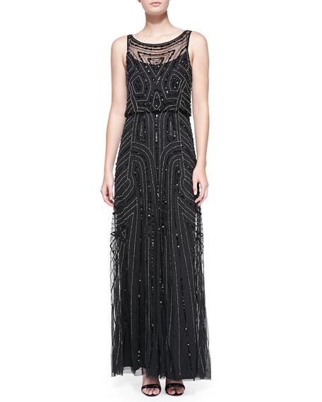 Sleeveless Beaded Blouson-Bodice Gown