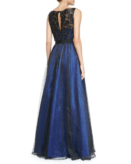 Sleeveless Beaded Lace Ball Gown