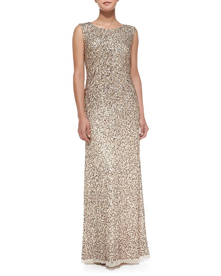 Sleeveless Allover Sequined Gown