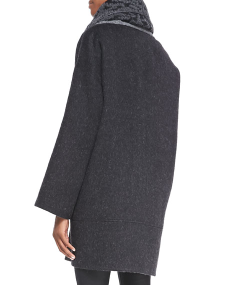 Double-Face Alpaca Cocoon-Shape Coat, Charcoal