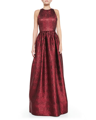 Alice + Olivia Emilia Snake-Embossed Metallic Gown