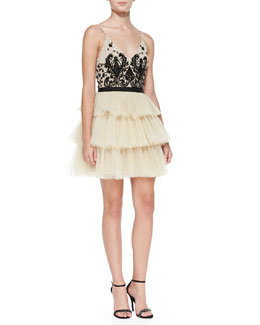 Alice + Olivia Drury Beaded Tulle Ballerina Cocktail Dress