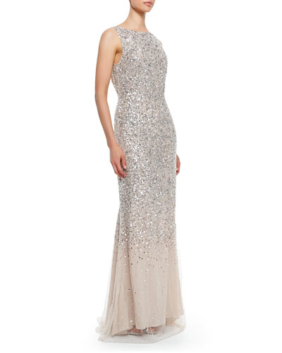 Alice + Olivia Saba Sleeveless Beaded Mesh Gown