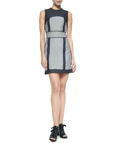 Sleeveless Denim Back-Zip Dress