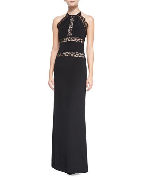 Nicole Miller Halter Gown Lace-Trim Gown