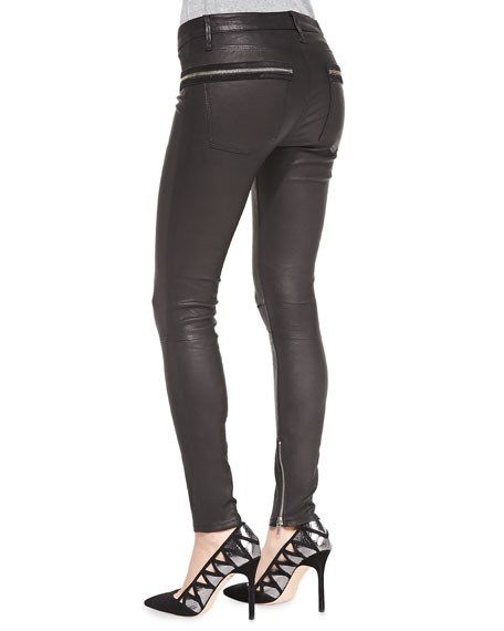 Zip-Pocket Skinny Leather Pants