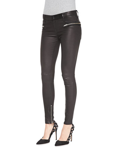 RtA Denim Zip-Pocket Skinny Leather Pants