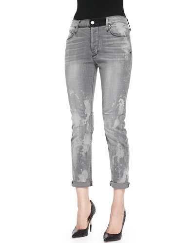 RtA Denim Splash-Print Slim Boyfriend Jeans, Storm