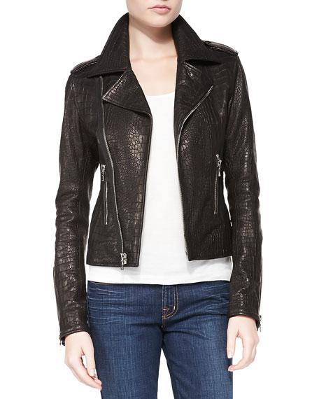 Snake-Print Leather Moto Jacket