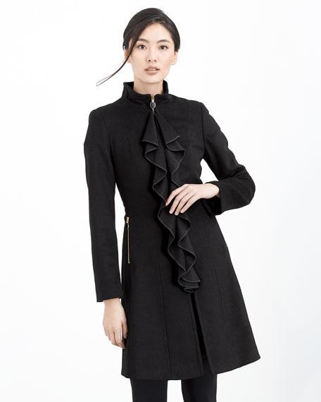 Kendra Ruffle-Front Coat, Black