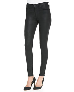 Hudson Barbara High-Rise Waxed Skinny Jeans, Black