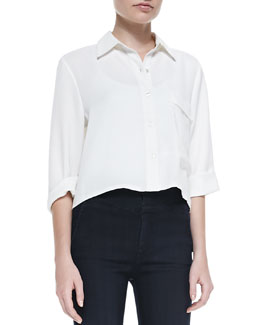 7 For All Mankind Long-Pocket Short-Sleeve Blouse