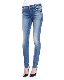 7 For All Mankind High-Waist Destroy Skinny-Leg Jeans