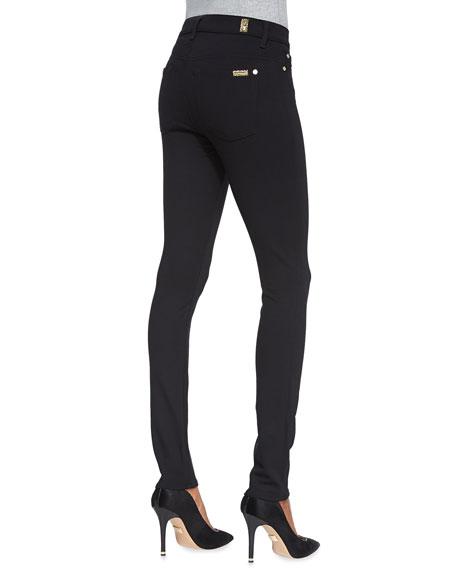 High-Waist Doubleknit Skinny Jeans, Black