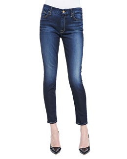 7 For All Mankind High-Waist Ankle Skinny Jeans, Medium Dark