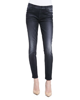 7 For All Mankind Highwaist Faded Skinny Jeans, Storm Black
