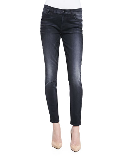 7 For All Mankind High-Waist Ankle Skinny, Slim Illusion Storm Black
