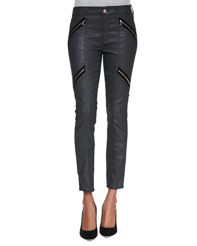 7 For All Mankind Coated Double-Zip Moto Jeans, Black