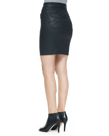 Kodie Coated Twill Skirt, Blackslick