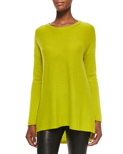 Neiman Marcus Hi-Low Long Cashmere Tunic