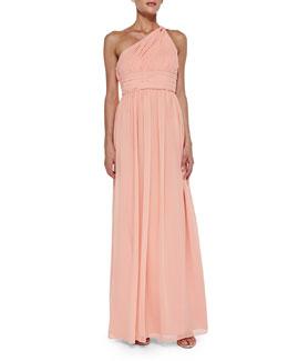 Donna Morgan One-Shoulder Chiffon Gown