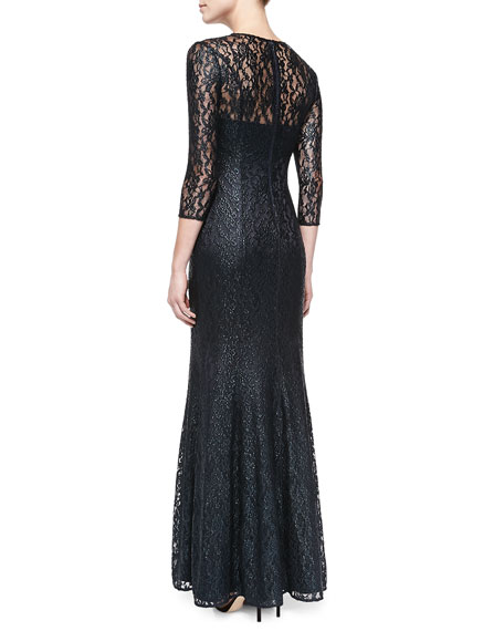 3/4-Sleeve Lace-Overlay Gown