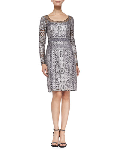 Kay Unger New York Long-Sleeve Horizon Lace Cocktail Dress