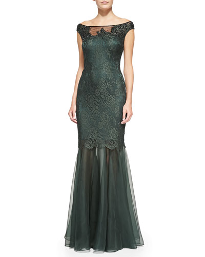 Kay Unger New York Off-the-Shoulder Lace Mermaid Gown