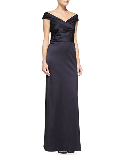 Kay Unger New York Off-the-Shoulder Ruched Column Gown