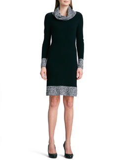 Magaschoni Cashmere Sweater Dress with Marled Trim