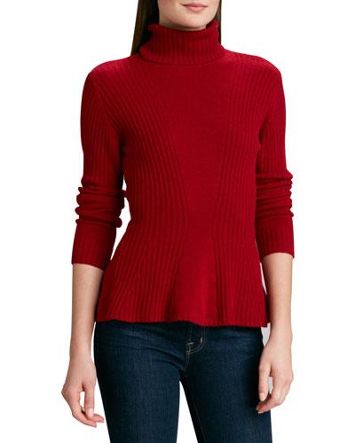 Neiman Marcus Cashmere Turtleneck Peplum Sweater