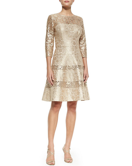 3/4-Sleeve Lace Full-Skirt Cocktail Dress, Gold
