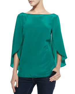 Milly Butterfly-Sleeve Silk Top, Emerald