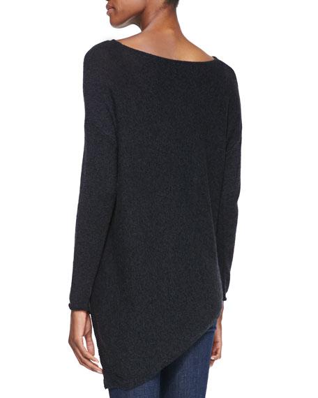 Boat-Neck Asymmetric Knit Sweater