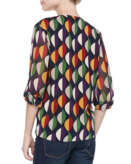 Printed Tab-Sleeve Flowy Blouse