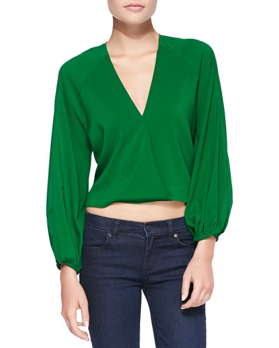 Alice + Olivia Borvo Satin Surplice Crop Top