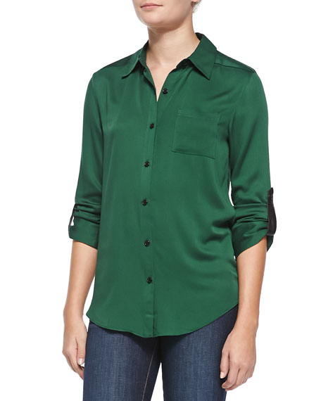 Piper Leather-Tab Collared Blouse
