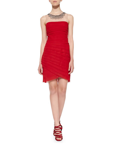 BCBGMAXAZRIA Maia Mesh-Top Pintuck Dress