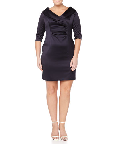 3/4-Sleeve V-Neck Cocktail Dress, Women